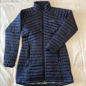 Long navy columbia puffer coat